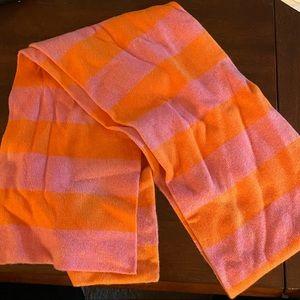J. Crew pink and orange striped scarf
